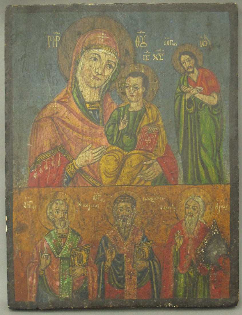 EARLY RUSSIAN PAINTED ICON on wood panel sight-