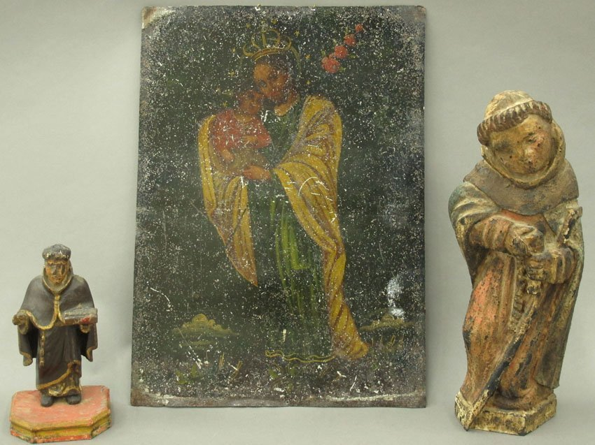 LOT OF (3) RELIGIOUS RELICS Oil on tin and (2)