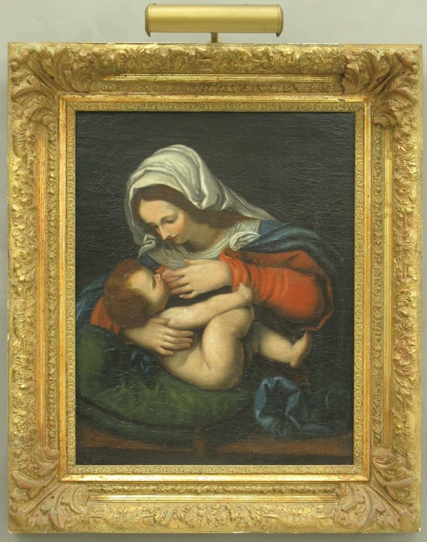 19TH CENTURY OIL ON CANVAS OF THE MADONNA AND C