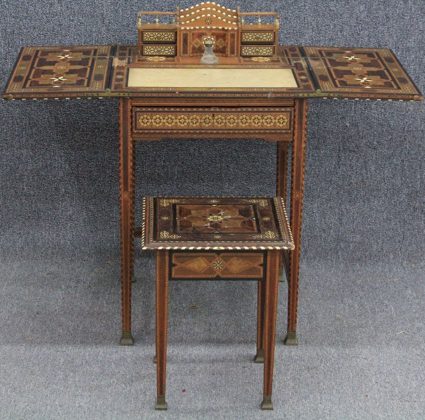 LATE 19TH CENTURY INLAID MOSAIC WRITING TABLE w