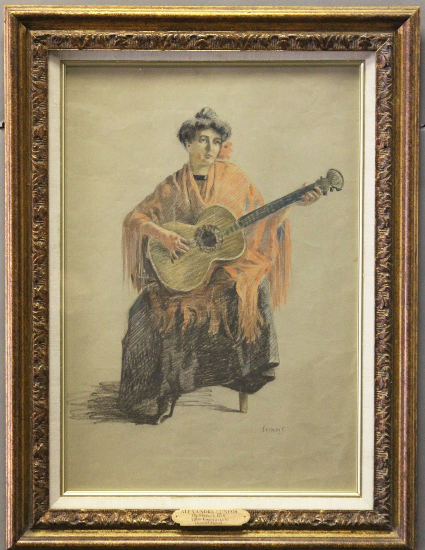 ALEXANDRE LUNOIS (1863-1916) COLORED PENCIL DRAWING