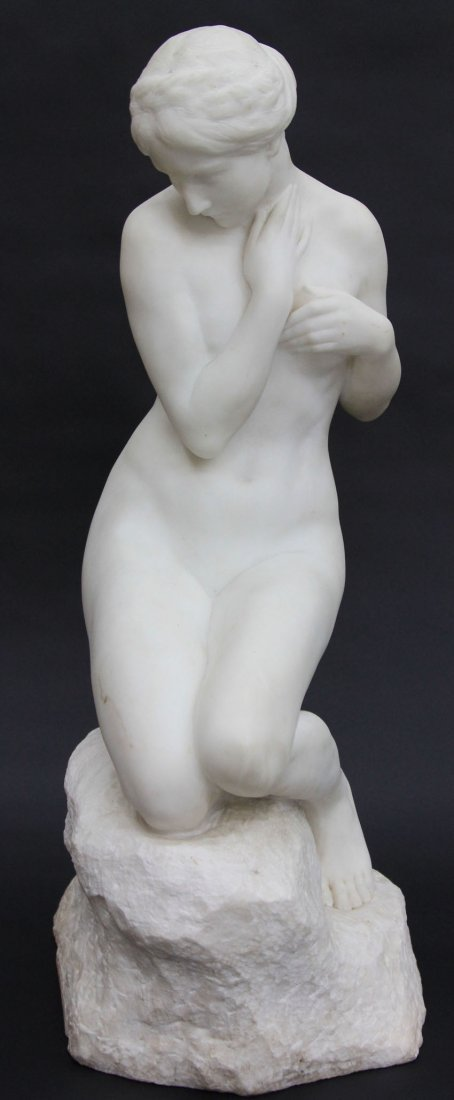 HENRI WEIGELE, (1858- 1927) CARVED MARBLE FIGUR