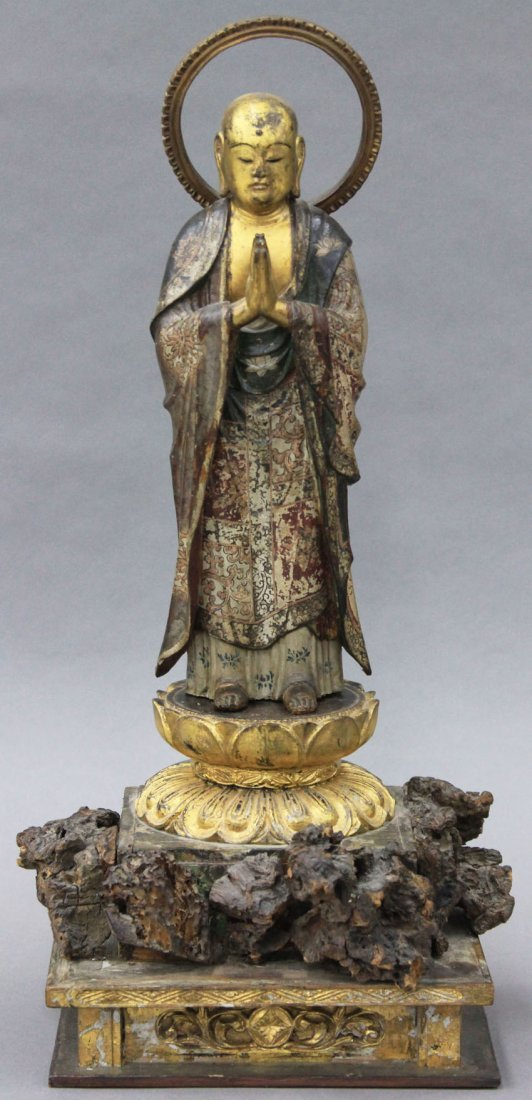 JAPANESE CARVED BUDDHA  circa 19th century or earlier