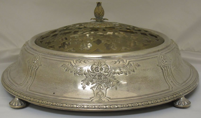 7000: SHREVE STERLING SILVER FOOTED COMPOTE with metal