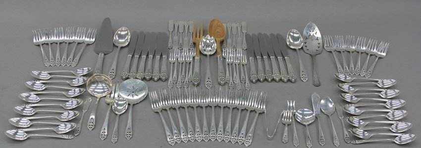 7006: STERLING SILVER FLATWARE SET total pcs- 85 weigh