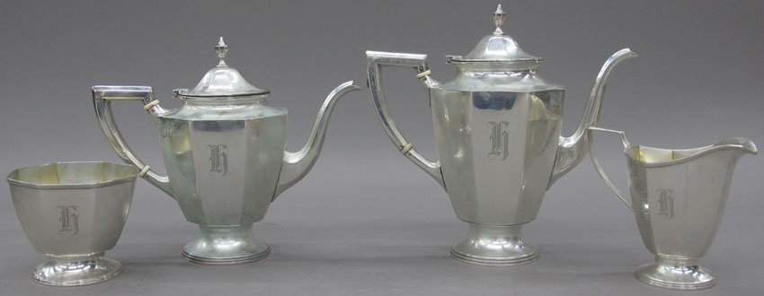 7007: STERLING SILVER (4) PIECE TEA SERVICE weight- 47