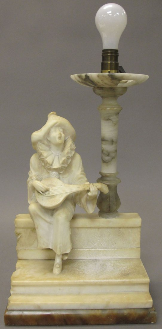 7015: EARLY 20TH CENTURY ALABASTER FIGURAL LAMP height