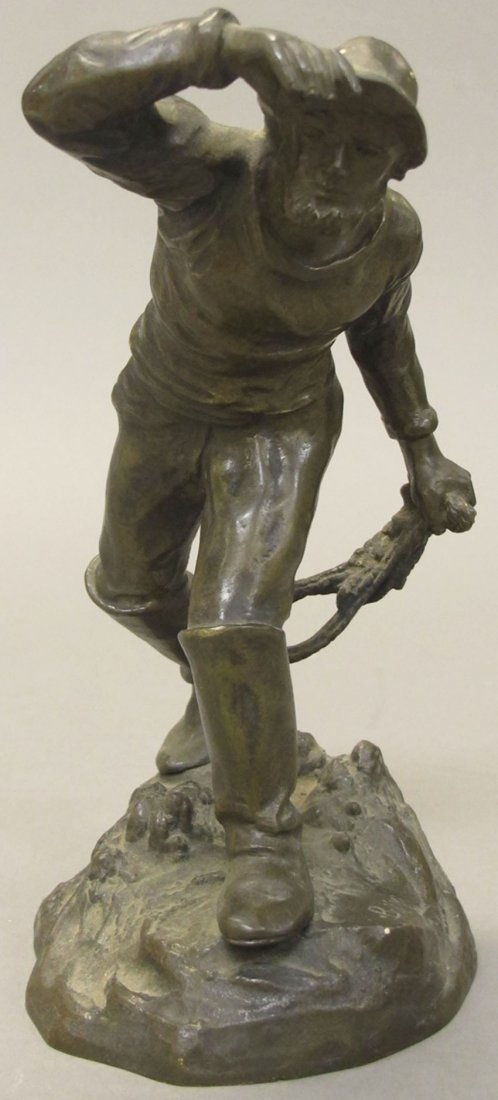 7016: FRENCH BRONZE STATUE OF SAILOR signed on bottom