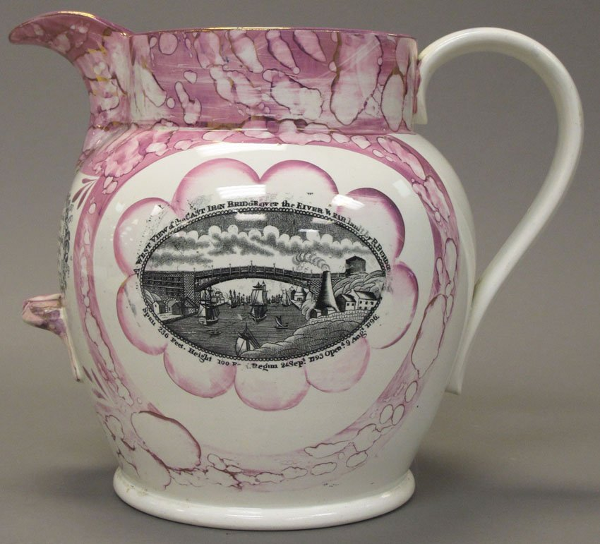 7017: SUNDERLAND LUSTER JUG early 19th century height-