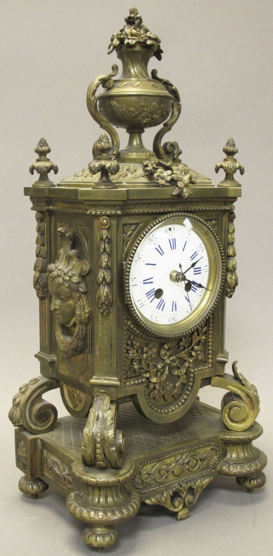 7020: FRENCH CAST BRONZE MANTLE CLOCK note- original m