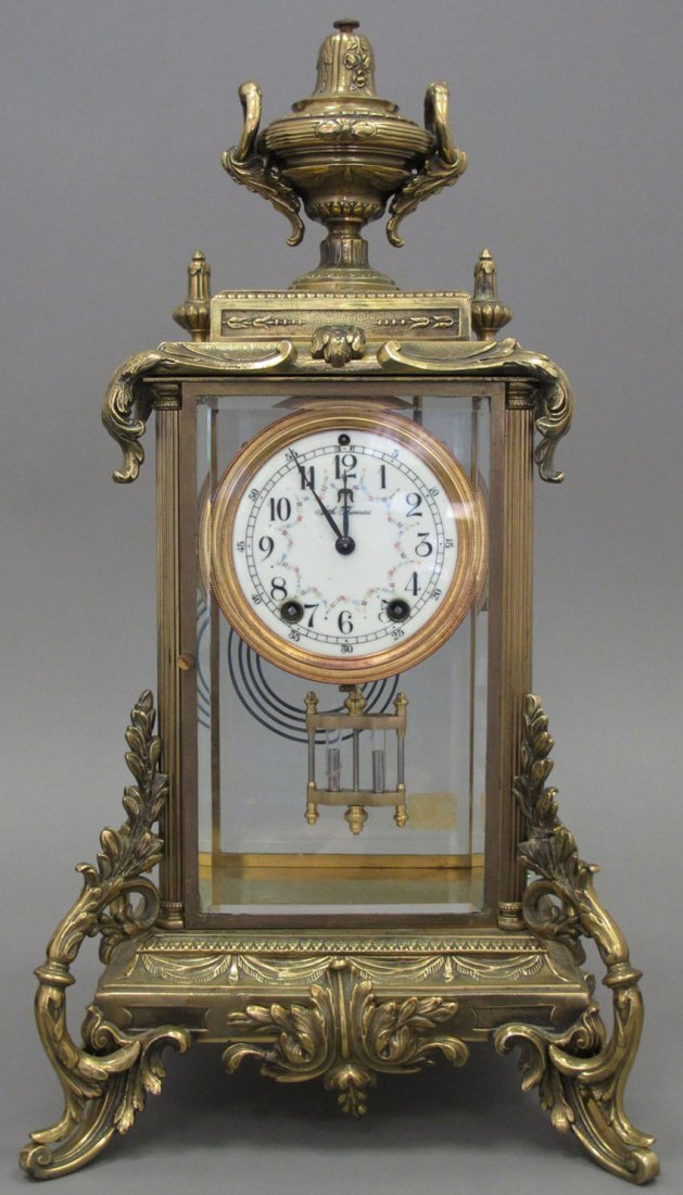 7021: SETH THOMAS CAST METAL MANTLE CLOCK height- 20""