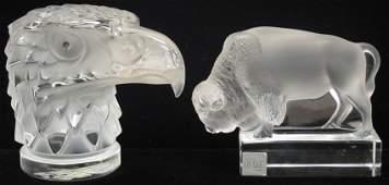 7030: LOT OF (2) LALIQUE CRYSTAL FIGURES eagle, buffal