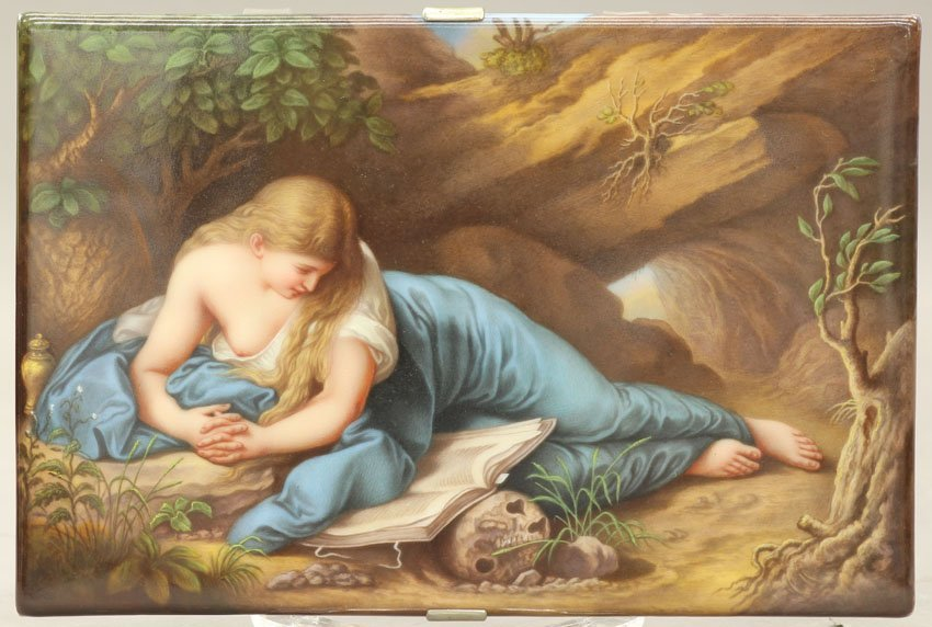 7952: DRESDEN PAINTED PORCELAIN PLAQUE circa late 19th/