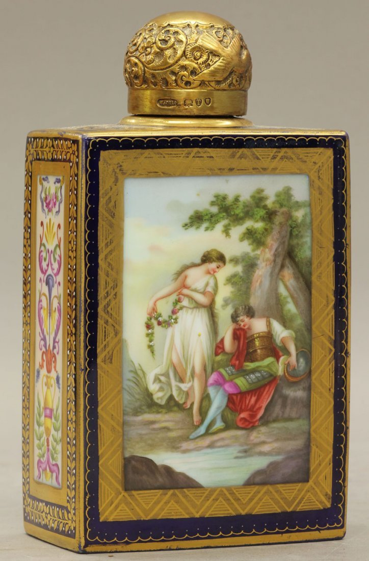 7953: ROYAL VIENNA PAINTED PERFUME BOTTLE circa late 19