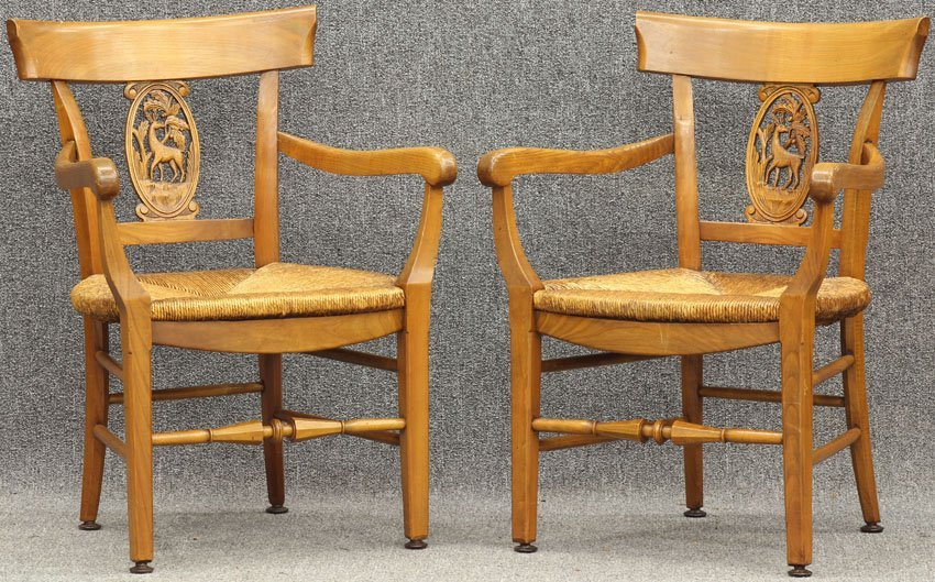 "7960: PAIR OF FRENCH COUNTRY ARM CHAIRS height- 32"", wi"