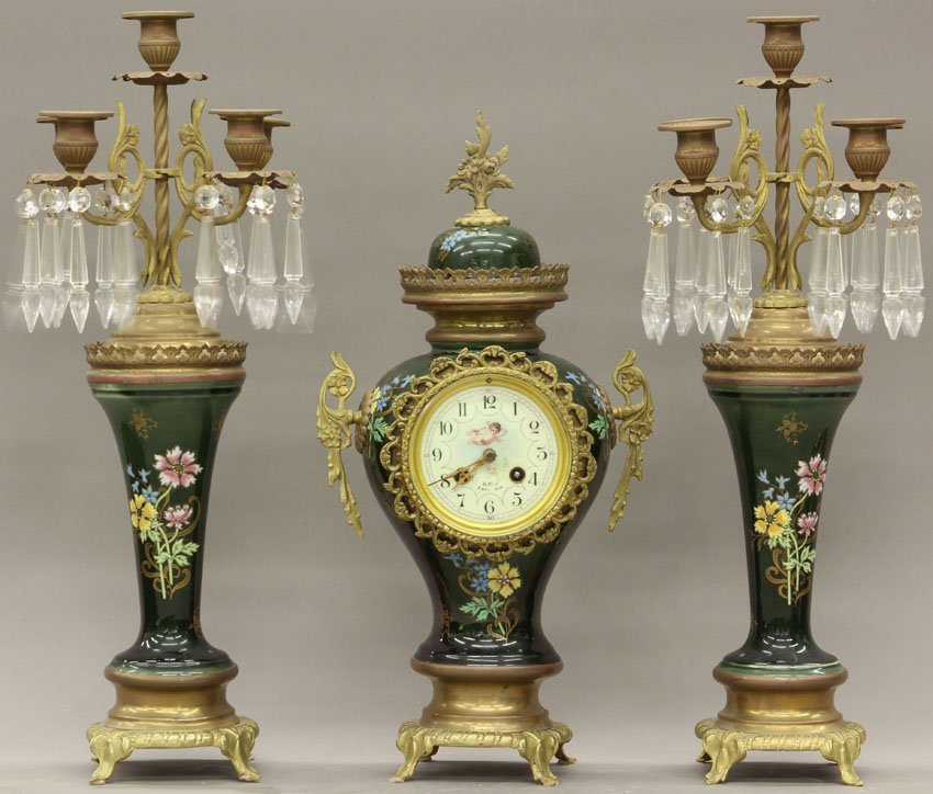 7962: CONTINENTAL PORCELAIN PAINTED THREE PIECE CLOCK S