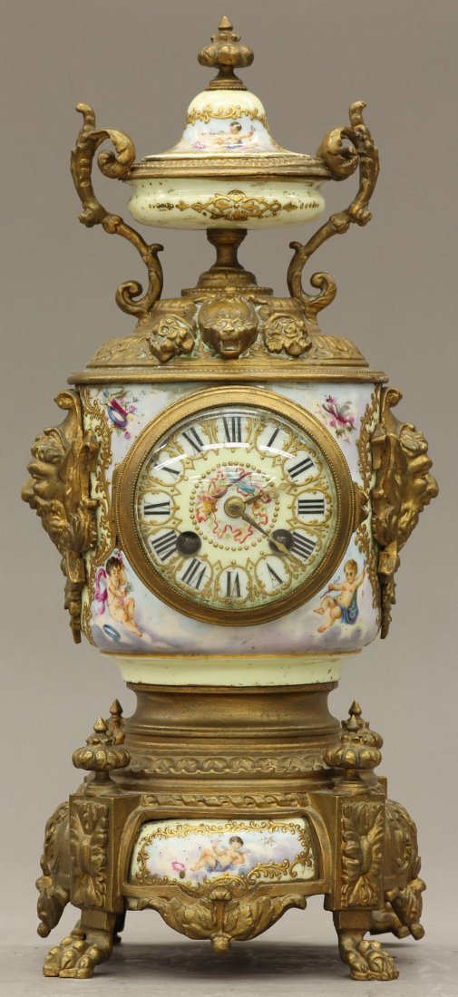 7963: FRENCH PAINTED PORCELAIN AND METAL PARLOR CLOCK c