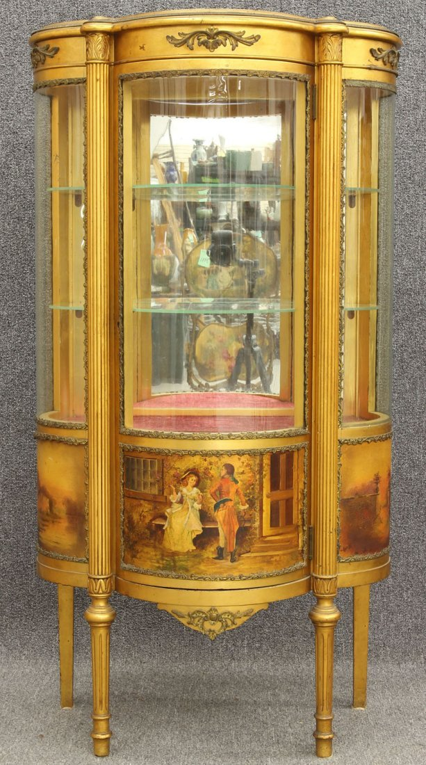 7964: FRENCH CURVED GLASS PAINTED VITRINE circa late 19