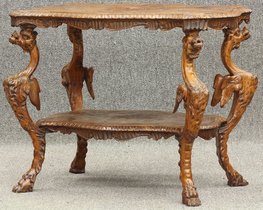 7965: ITALIAN CARVED WALNUT WING GRIFFIN PARLOR TABLE c