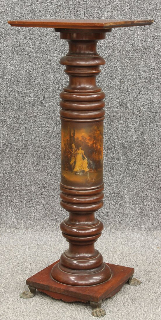 7967: LATE VICTORIAN CHERRY PEDESTAL with paint decorat