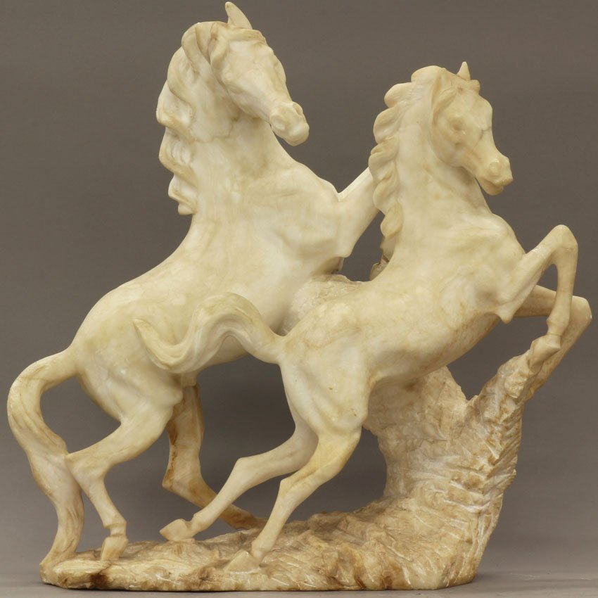 7969: EARLY 20TH CENTURY CARVED ALABASTER SCULPTURE of