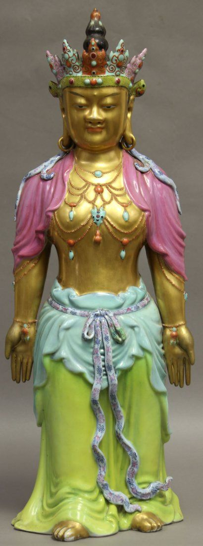 EARLY CHINESE POLYCHROME PORCELAIN QUAN YIN heigh