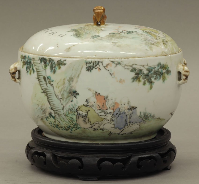 8464: CHINESE PAINTED PORCELAIN COVERED COMPOTE with as