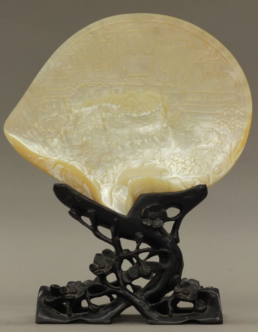 8493: CHINESE CARVED SEA SHELL with stand circa early 2