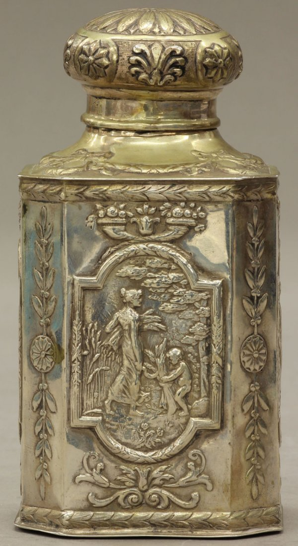 8496: VICTORIAN SILVER TEA CADDY note- some gold wash f