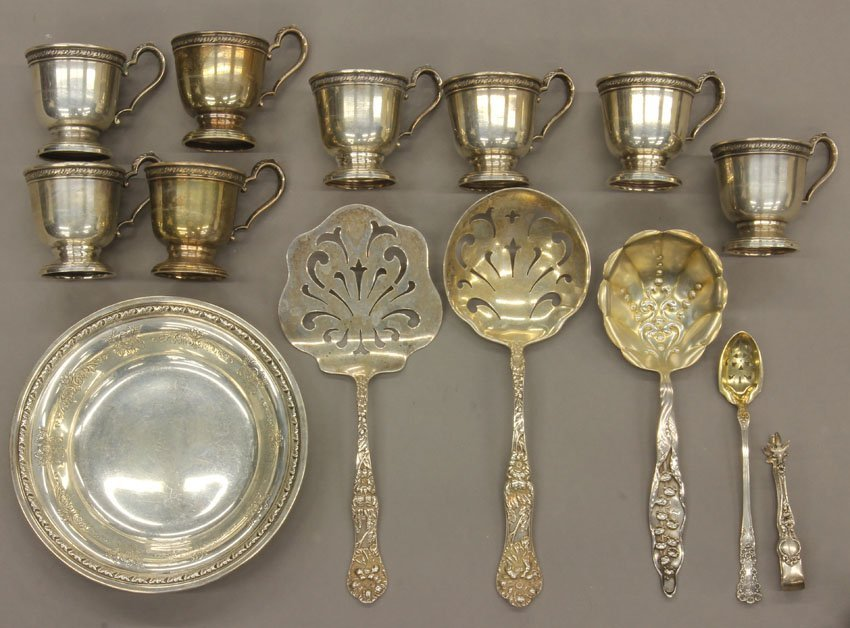 8531: LOT OF VINTAGE STERLING SILVER total- 14 pcs. wei