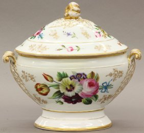 FRENCH PAINT DECORATED COMPOTE Height- 11 1/2""