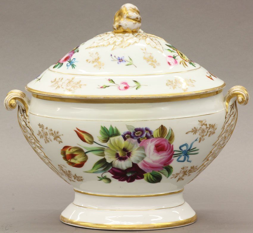 2: FRENCH PAINT DECORATED COMPOTE height- 11 1/2""