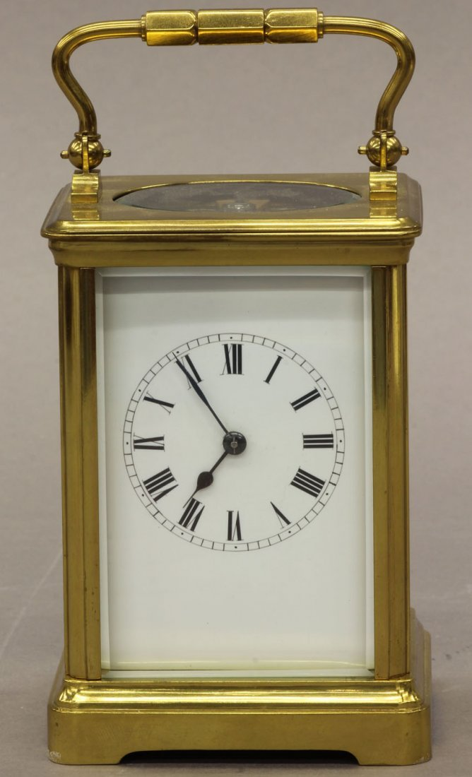 7: FRENCH CARRIAGE CLOCK circa late 19th century height