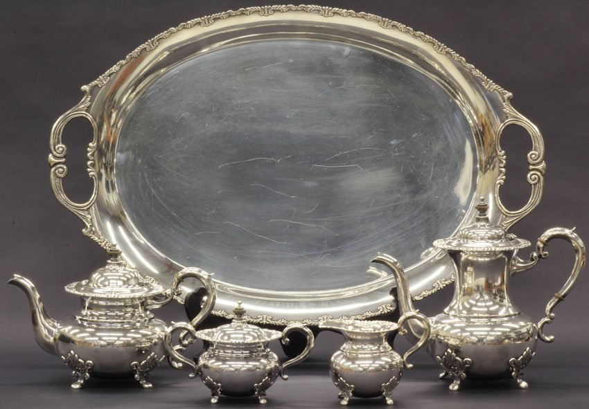 10: STERLING SILVER (5) PIECE TEA SERVICE weight- 137 t