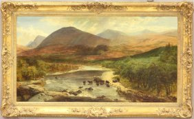 HENRY MOORE OIL ON CANVAS Scottish Highlands, Dated