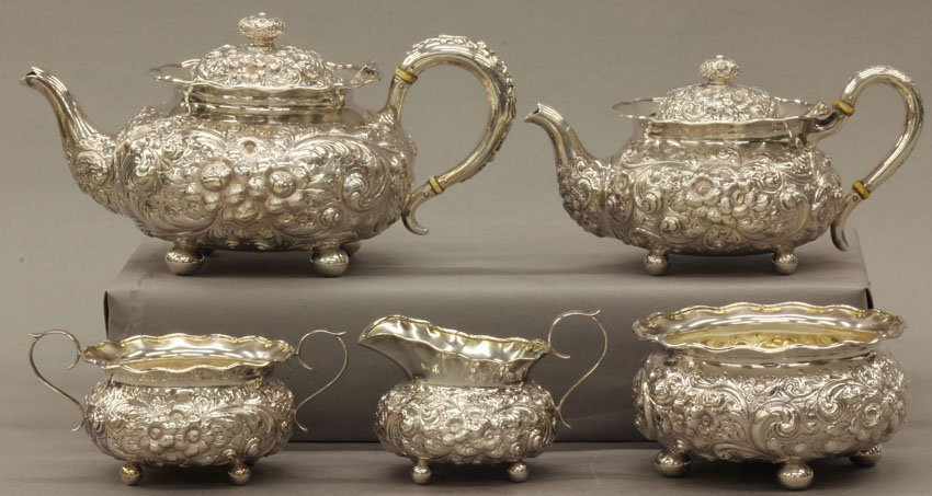 23: STERLING SILVER (5) PIECE TEA SERVICE Maker- Wright