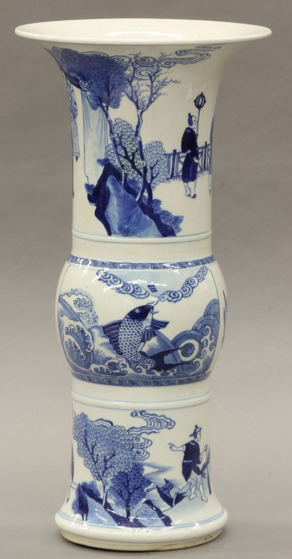 56: CHINESE BLUE AND WHITE PORCELAIN VASE circa 20th ce