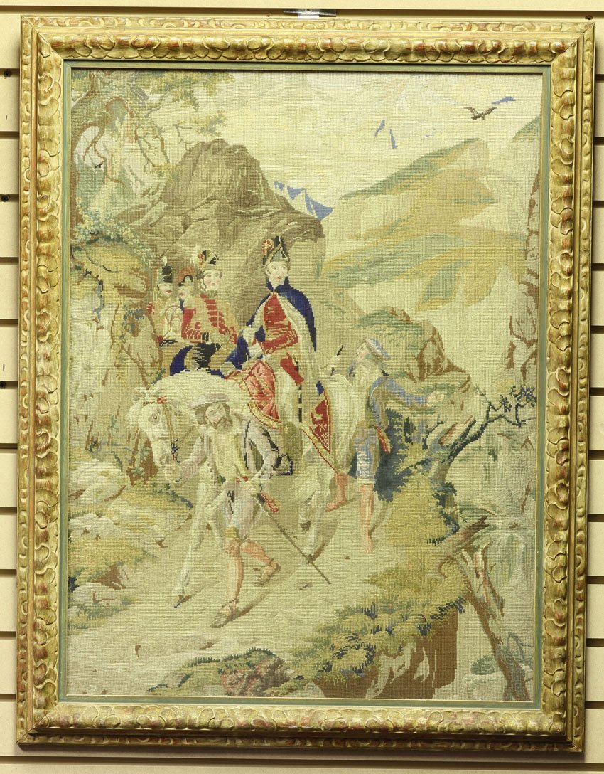 1008: FRENCH 19TH CENTURY NEEDLEPOINT OF SOLDIER sight-