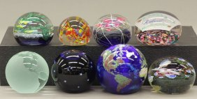 "1015: LOT OF (8) GLASS PAPERWEIGHTS diameter- 2 1/4"", 3"