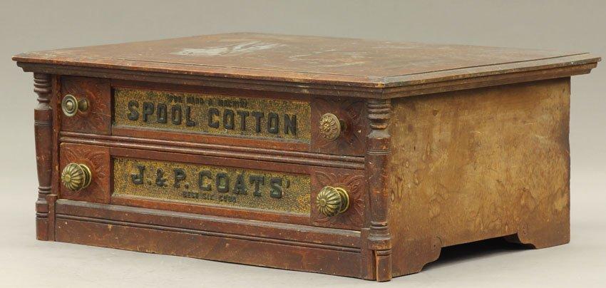 """1021: J.& P. COATS WALNUT SPOOL CABINET height- 8 3/4"""","""