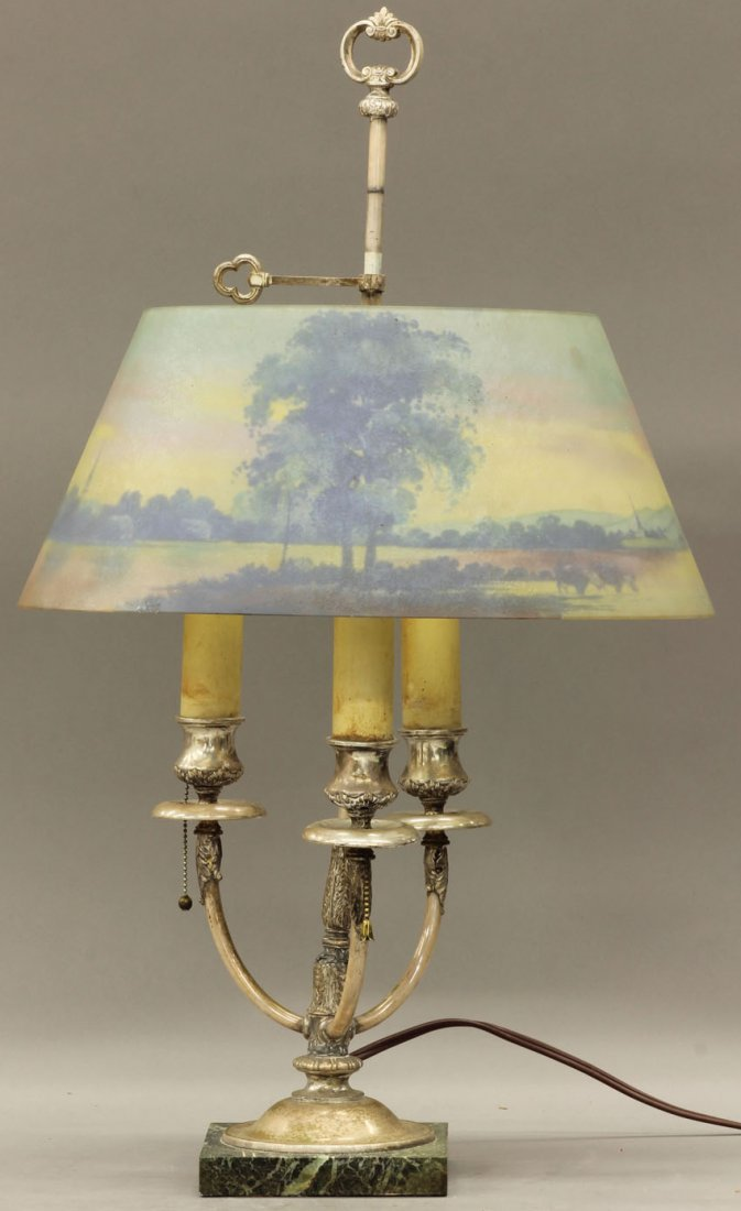 1022: REVERSE PAINTED GLASS LAMP in the manner of Pairp