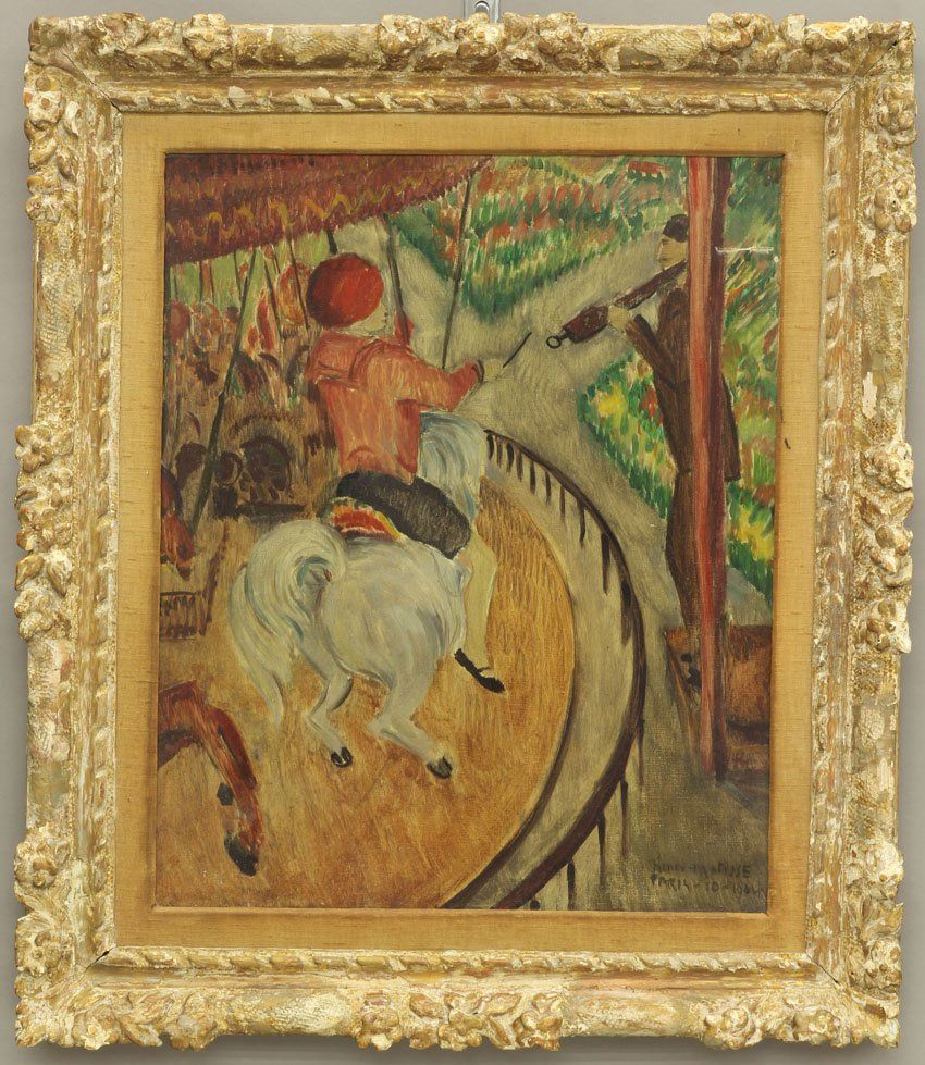 FRENCH PAINTING OF CAROUSEL signed Henri Matisse