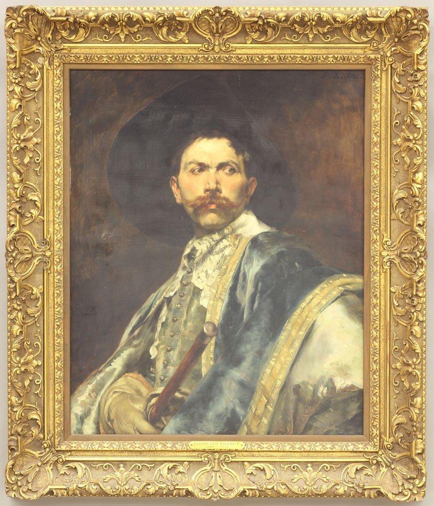 1045: FERDINAND ROYBET, Oil on Board Portrait sight- 24