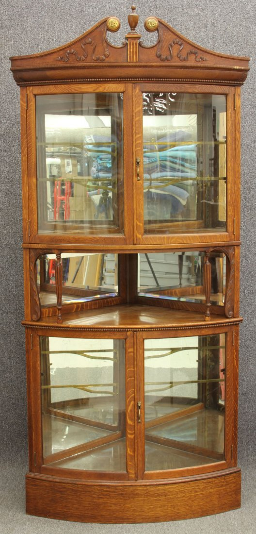 AMERICAN OAK CURVED GLASS CHINA CABINET  with arch top