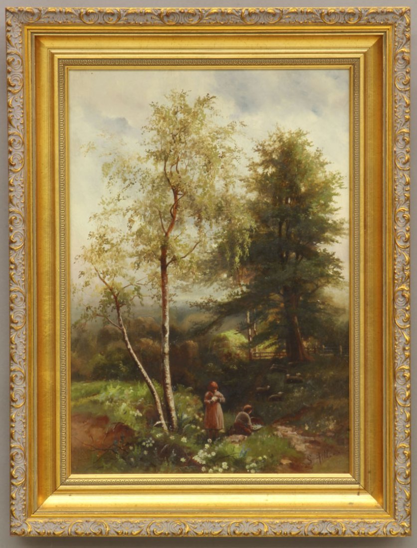 S. HILL OIL ON CANVAS Figures in a Wooded Forest sight-