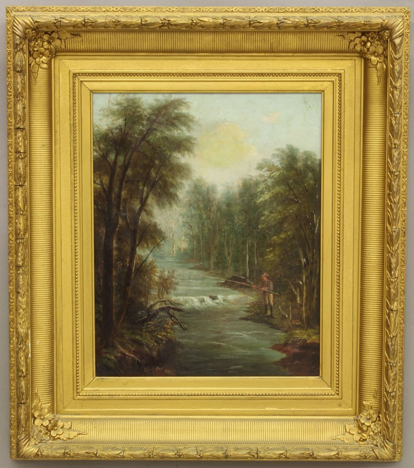 ALFRED HART OIL ON CANVAS dated 1875 Landscape with Fis