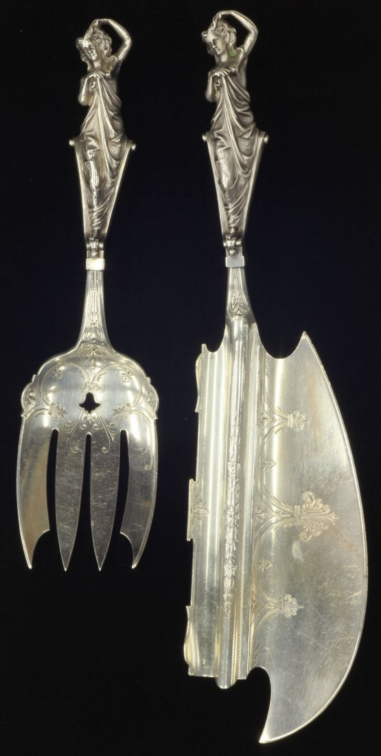 W&H STERLING TWO PART SERVING SET with full figure of m