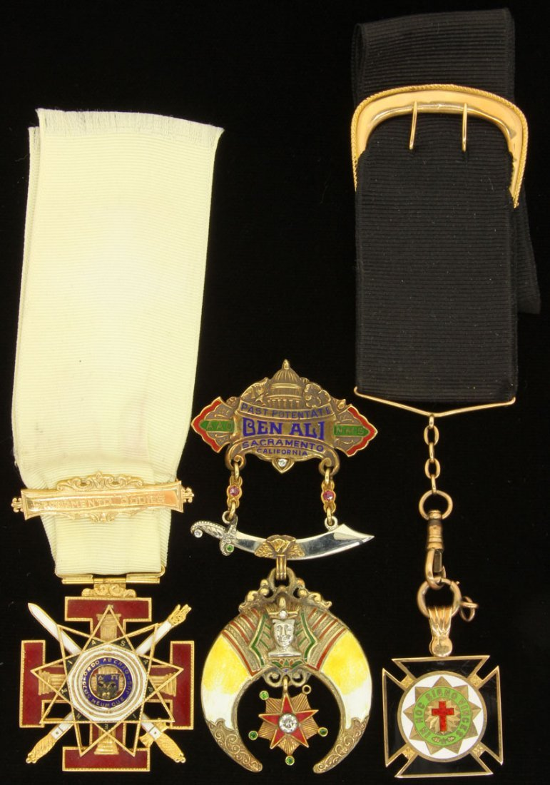 Lot Of (3) 14kt And Enameled Masonic Pendants