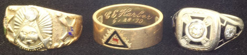 Lot Of (3) 14kt Fraternal Rings