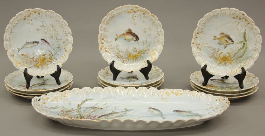 Limoges Painted Porcelain Fish Service